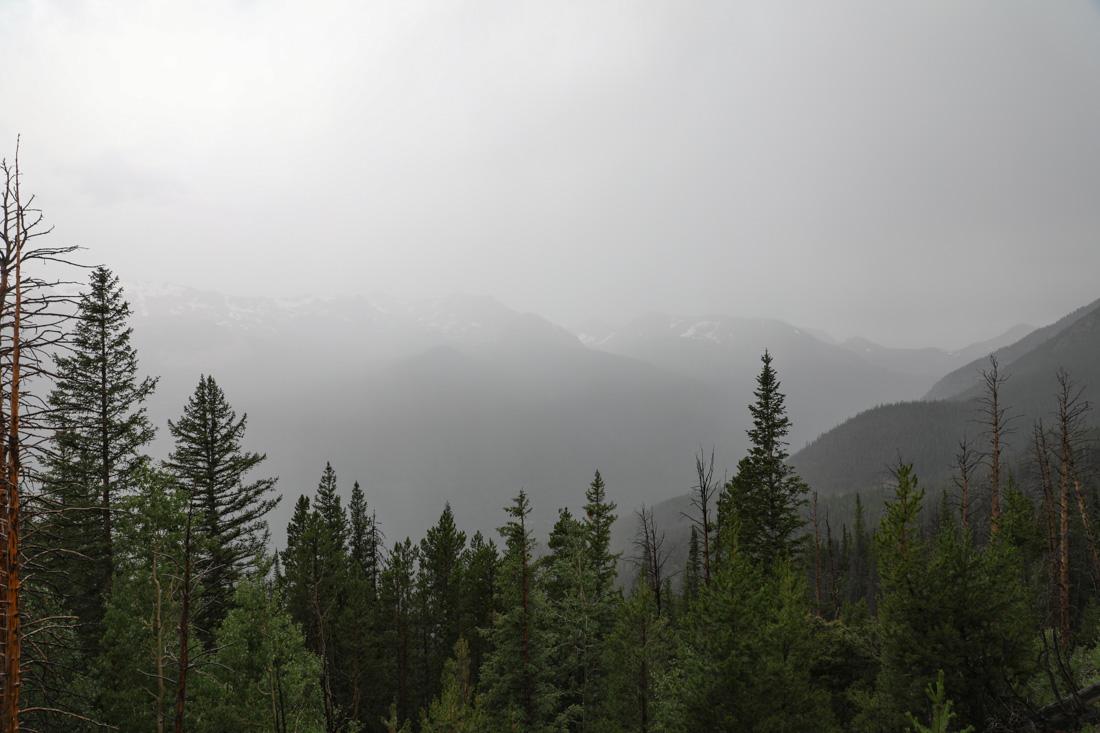slecht weer in het Rocky Mountain National Park